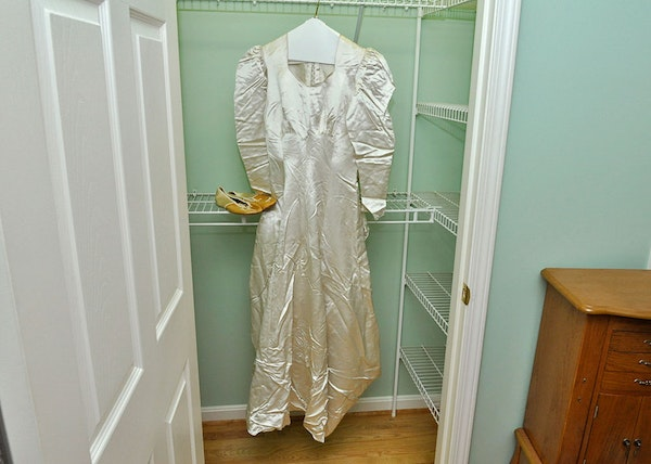 Early 1900s satin wedding gown and slippers ebth for Slipper satin wedding dress