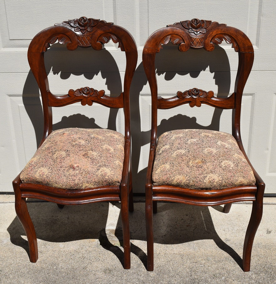 Pair of carved wooden chairs with upholstered seats ebth for Carved wooden chaise