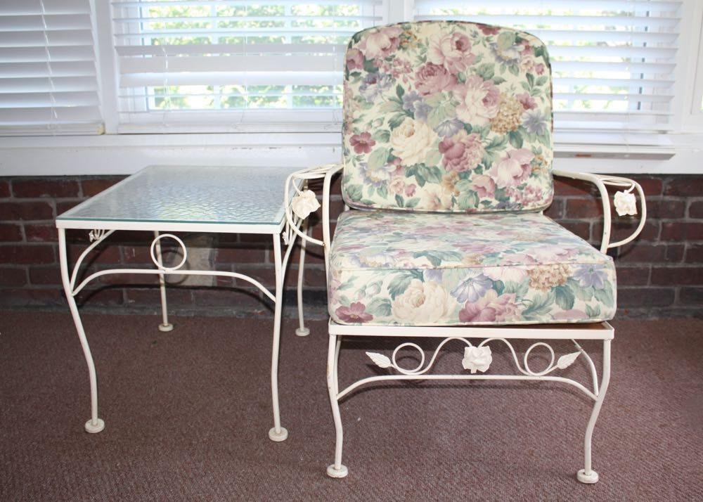 White Wrought Iron Patio Chair and Side Table EBTH