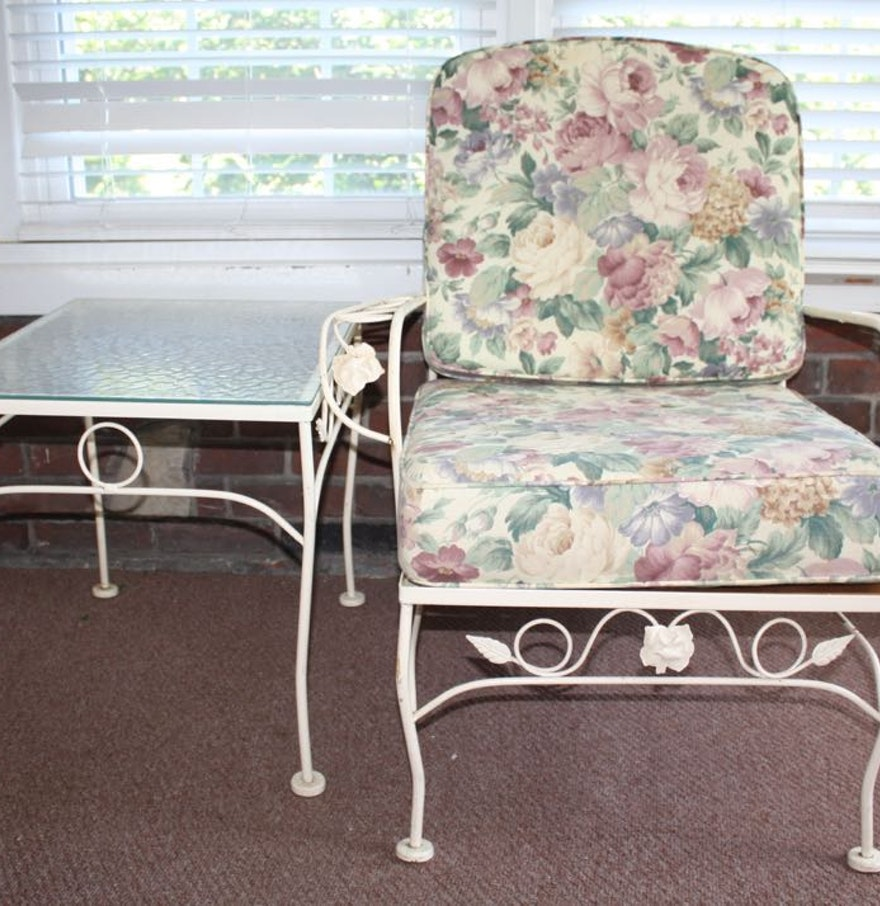 White wrought iron patio chair and side table ebth for White wrought iron furniture