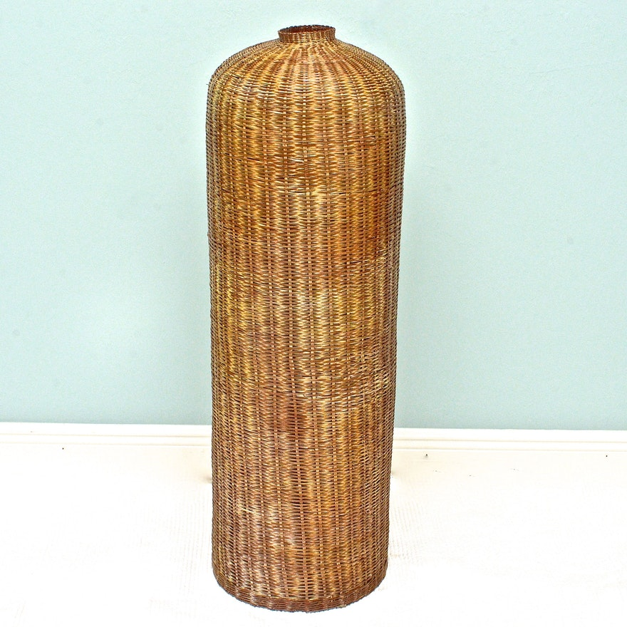Wicker Floor Vase Ebth
