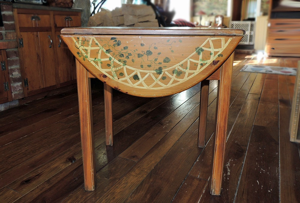habersham plantation drop leaf kitchen table with tole painting - Drop Leaf Kitchen Table
