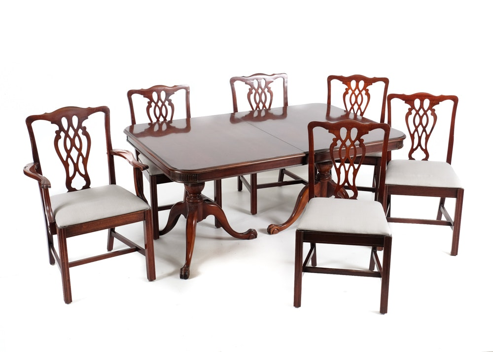 Cherry Duncan Phyfe Dining Table and Six Chairs EBTH