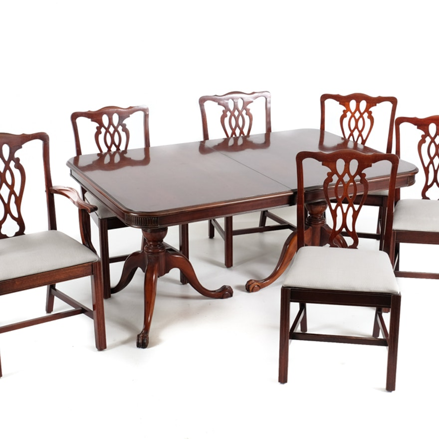 Cherry Table And Chairs: Cherry Duncan Phyfe Dining Table And Six Chairs
