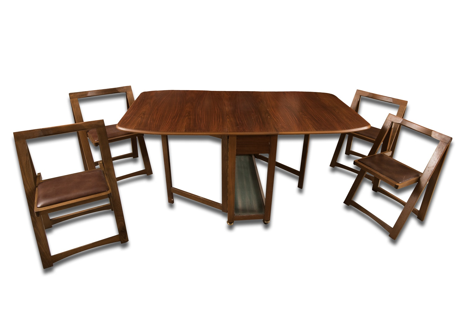 mid century drop leaf table and self storing folding