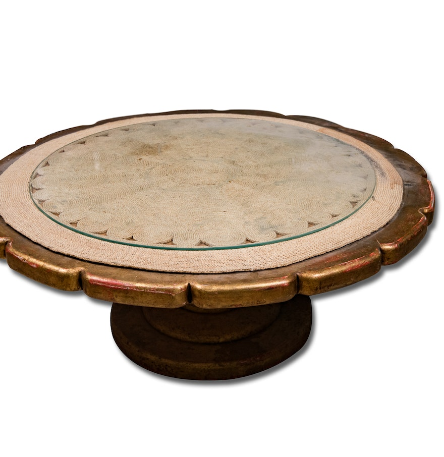 Round Wood Coffee Table With Notched Edges Ebth