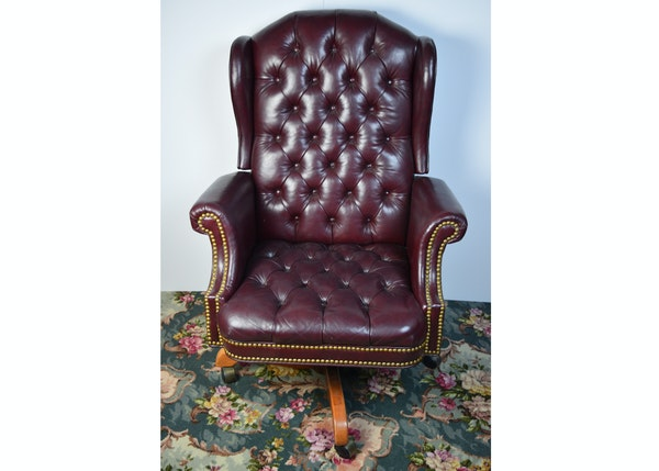 North Hickory Furniture Co Leather Wingback Desk Chair Ebth