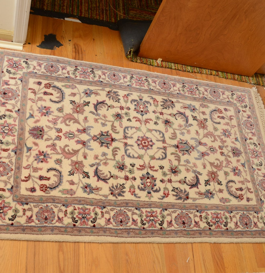 Persian Hand Knotted Kashan Silk And Wool Area Rug Ebth: Indian Hand-knotted Numani Kashan Wool Rug : EBTH