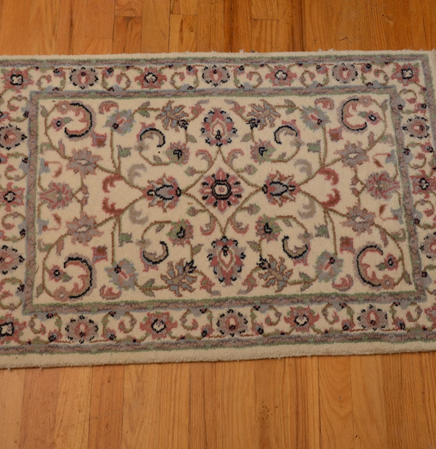 Hand Knotted Persian Kashan Wool Area Rug Ebth: Indian Hand-Knotted Numiji Kashan Wool Rug : EBTH