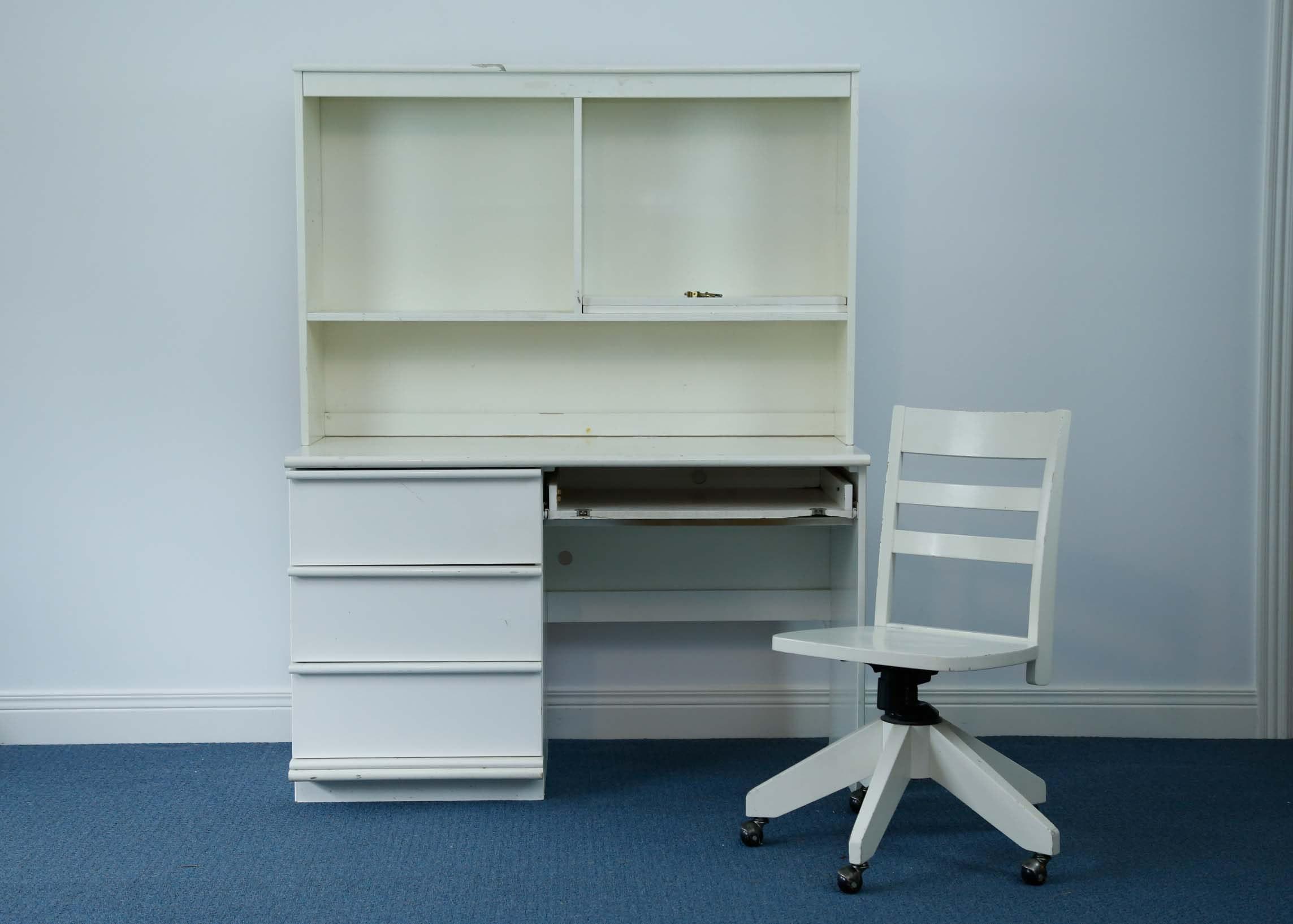 Pottery Barn White Laminate Hutch Desk and Chair EBTH