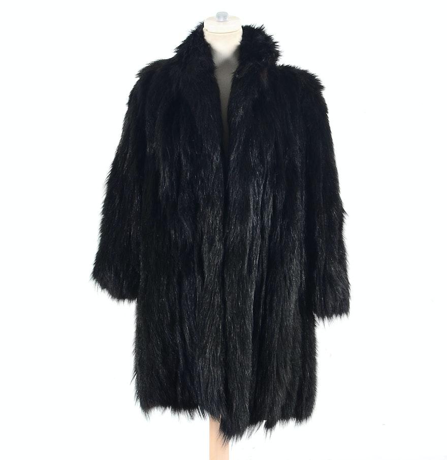1950s Vintage Black Bear Fur Coat : EBTH