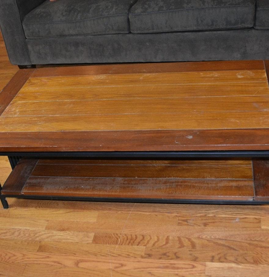 Bova wood plank and metal coffee table ebth for Wood plank top coffee table