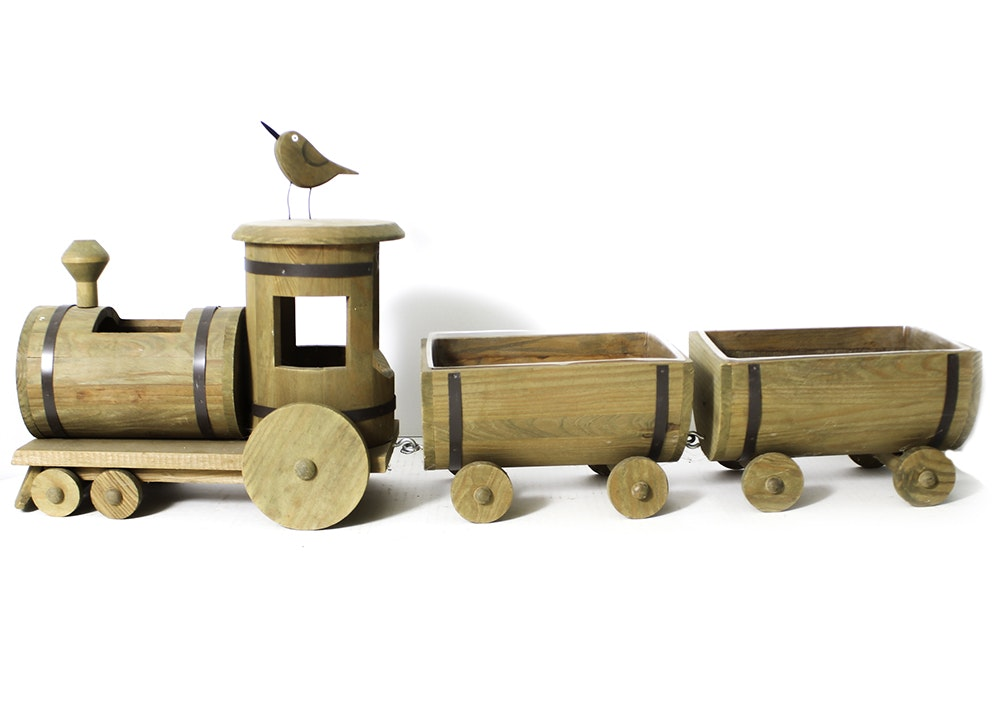 Wooden Train Planter Ebth