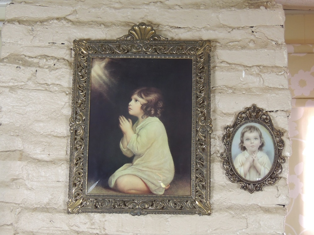 1950s home interiors little girl praying convex framed prints ebth 1950s home interiors little girl praying convex framed prints