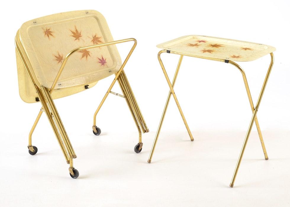 four mid century modern folding television tray tables ebth
