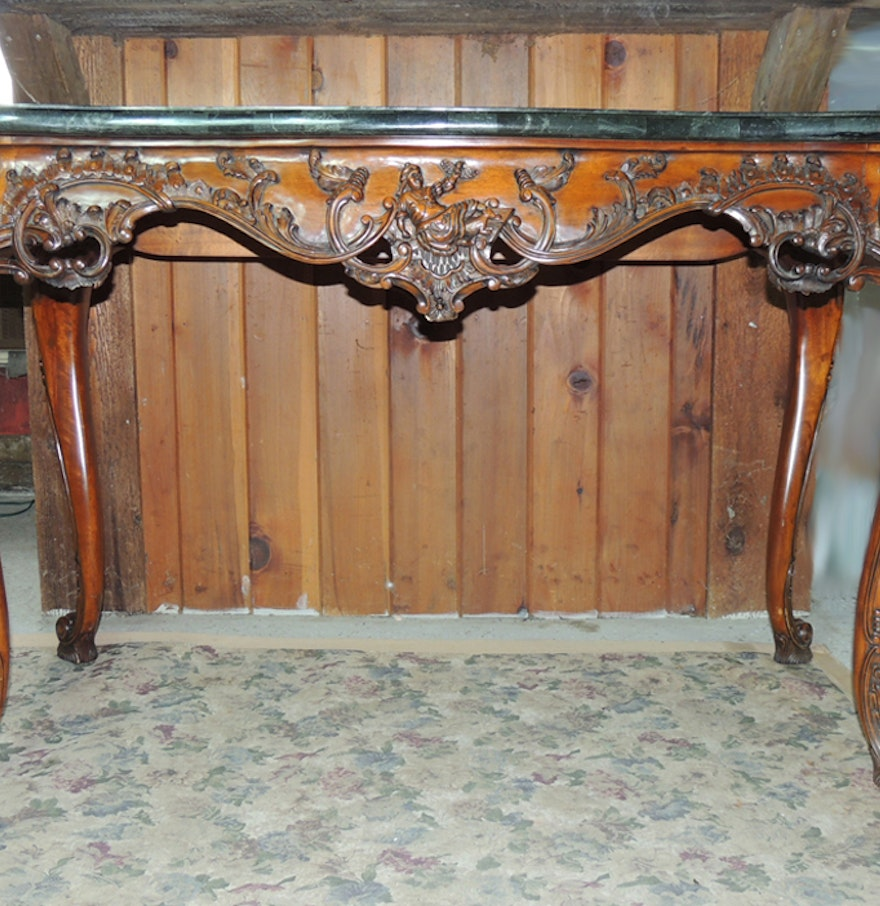 Maitland smith ornate carved console table with marble top ebth maitland smith ornate carved console table with marble top geotapseo Images