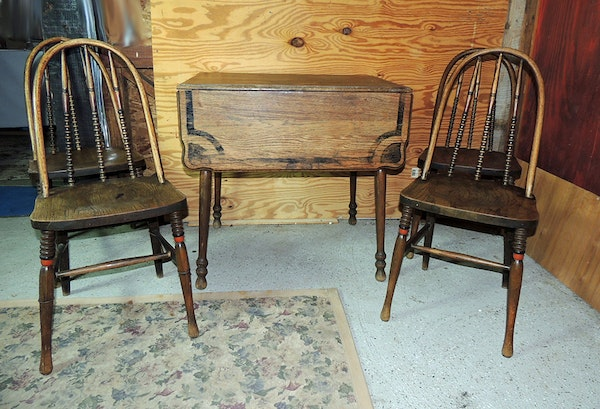 Antique Bow Back Spool Chairs And Drop Leaf Table Dining Set EBTH