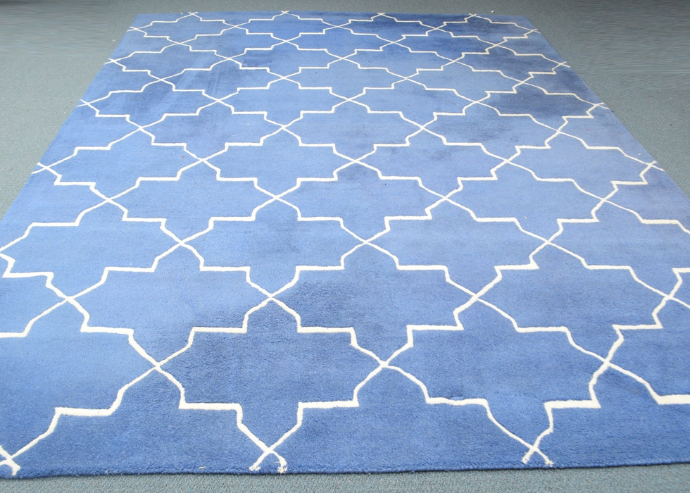 Large Blue And White Wool Area Rug Ebth