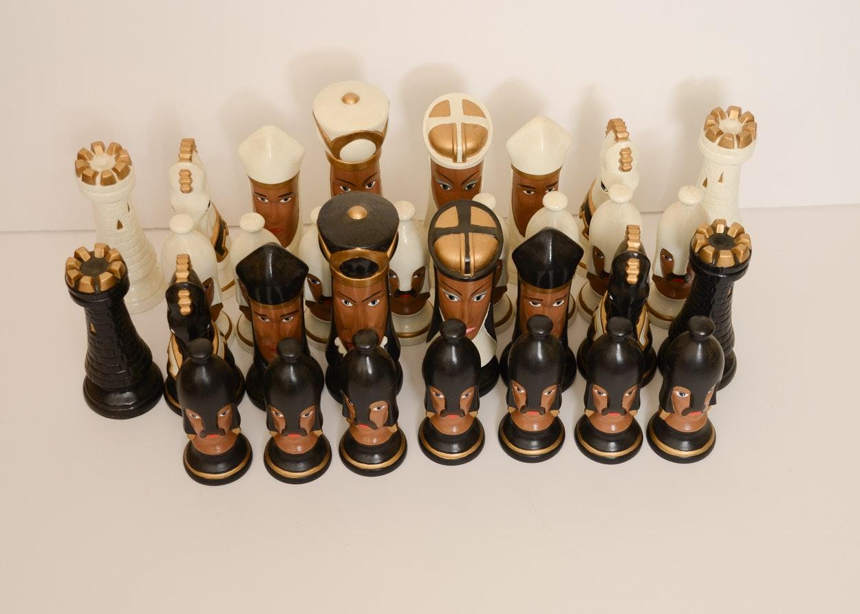Oversize ceramic chess set ebth - Ceramic chess sets for sale ...