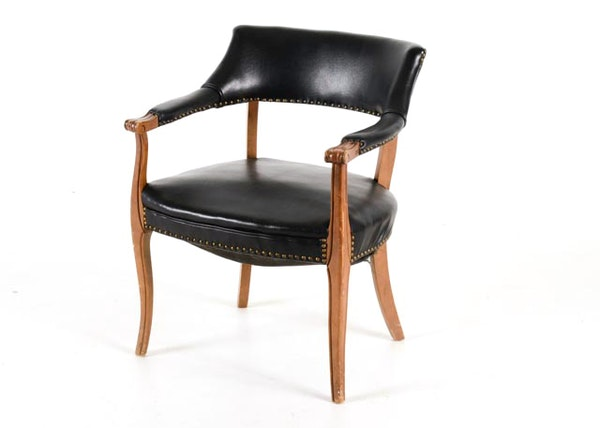 Black Faux Leather Chair: Black Faux Leather Barrel Back Side Chair : EBTH