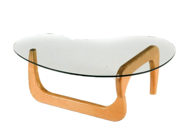Noguchi Tribeca Glass And Wood Accent Table