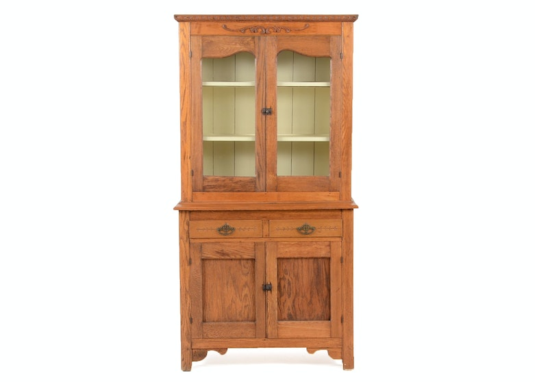 Antique Oak China Hutch - Vintage And Antique Cabinets Auction In Cincinnati, Ohio Antiques