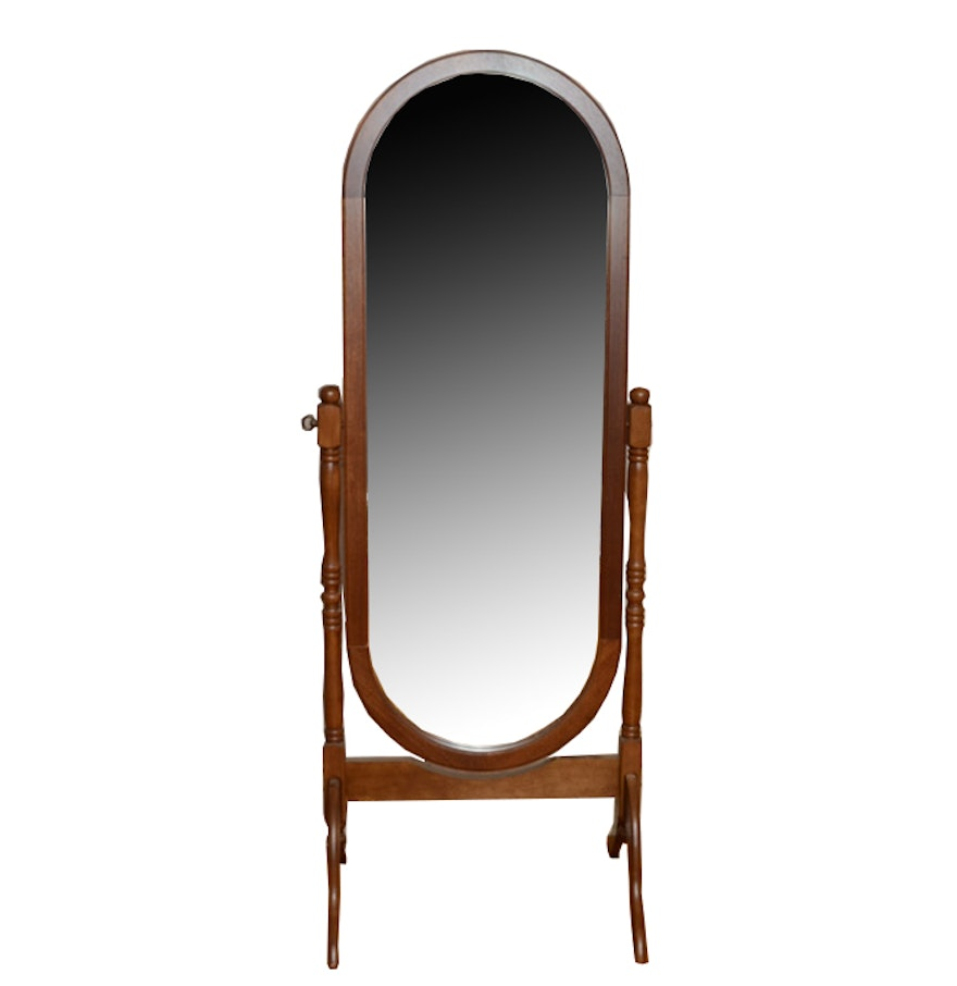 oak oval full length cheval mirror ebth