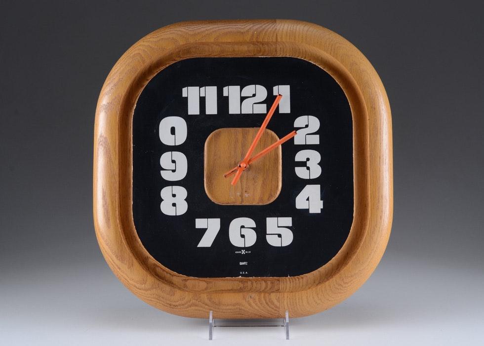 Vintage Howard Miller George Nelson Oak Wall Clock Ebth