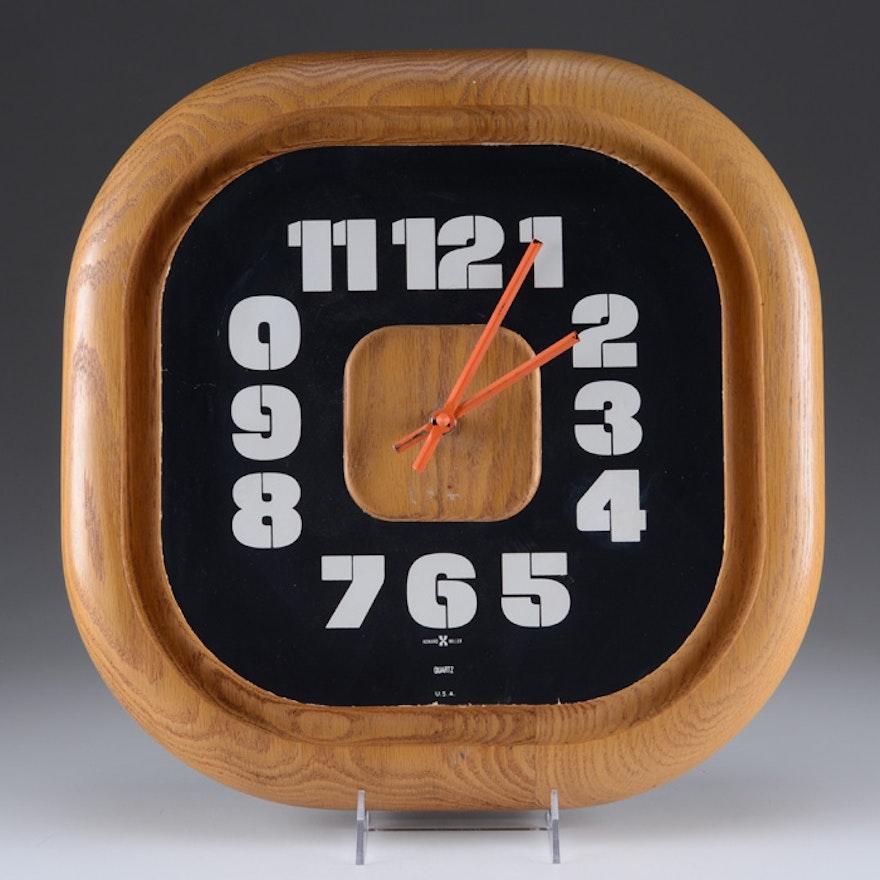 Vintage Howard Miller George Nelson Oak Wall Clock