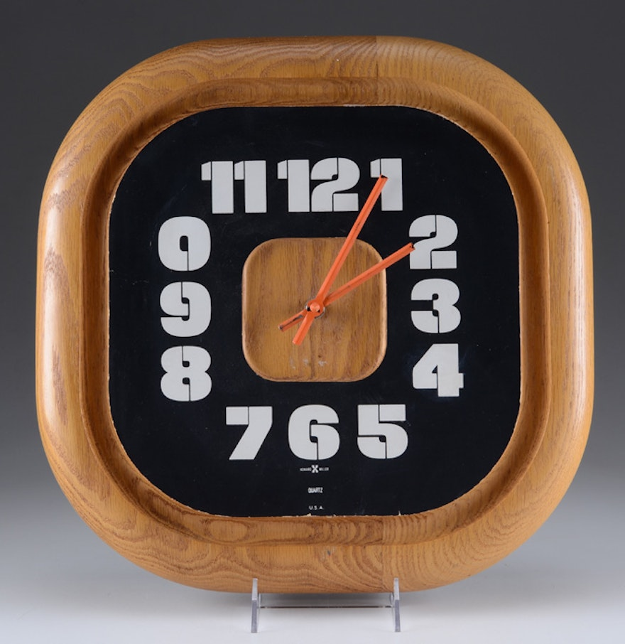 Vintage howard miller george nelson oak wall clock ebth for Nelson wall clock