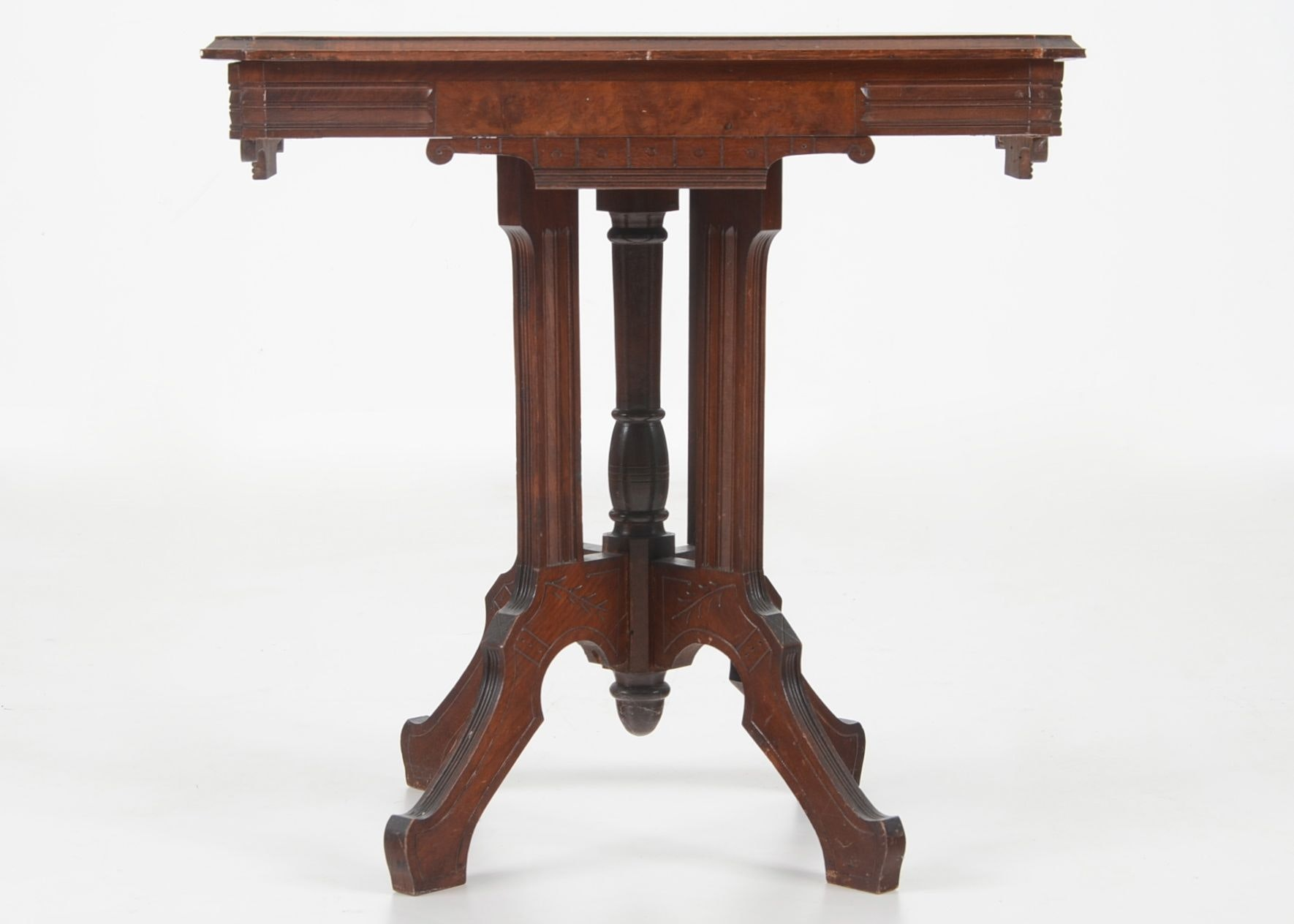 Antique Walnut and Burl Eastlake Style Parlor Table : EBTH