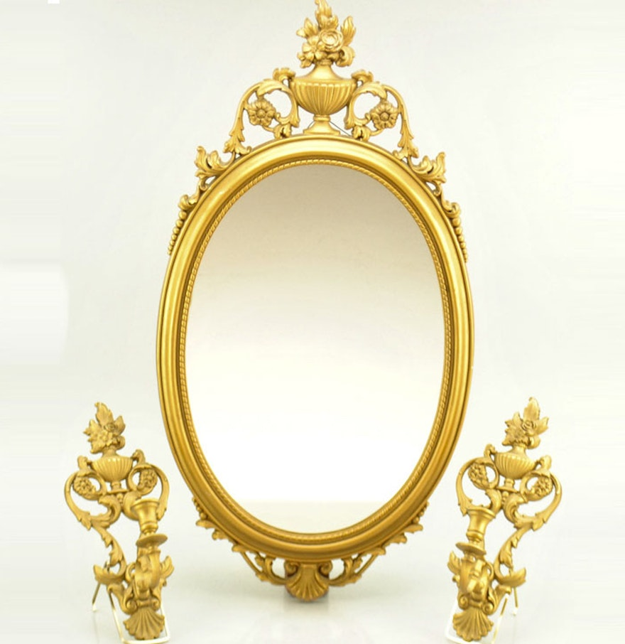 Gilded mirror and hanging candlestick holders ebth for Mirror holders