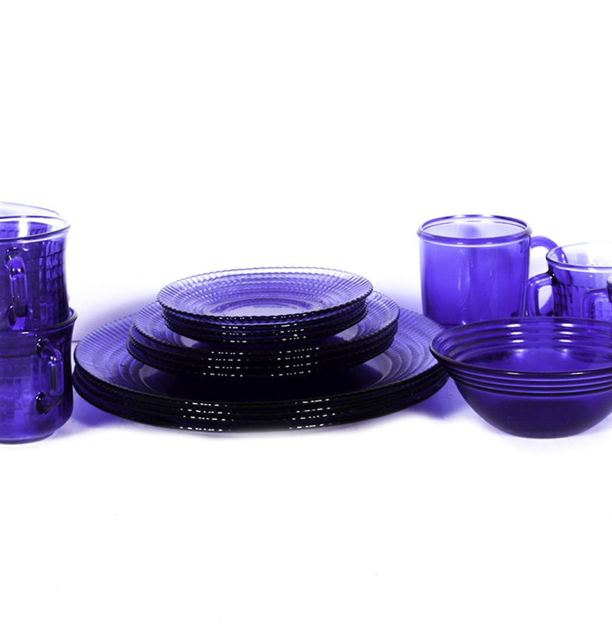 Mexican Cobalt Blue Glass Dinnerware Set : EBTH