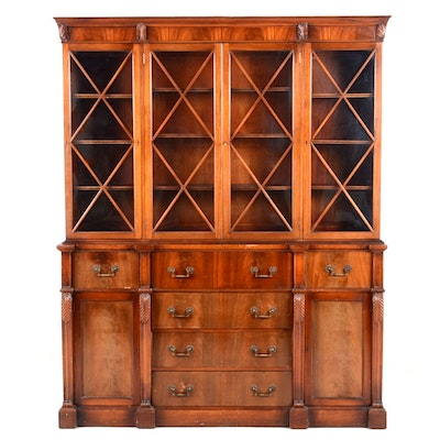 1940 Regency Style Mahogany Two Part China Cabinet - Vintage And Antique Cabinets Auction In Cincinnati, Ohio Antiques