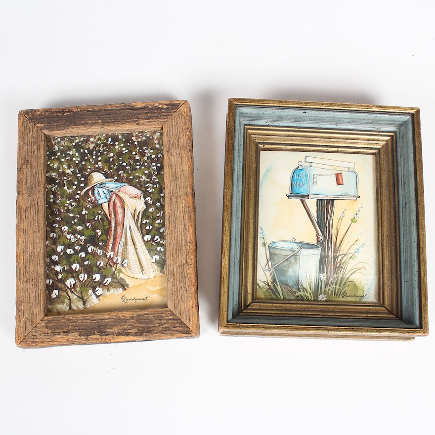 pairing of small framed prints by l lundquist ebth