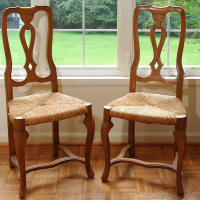 Continental Style Fruitwood Side Chairs - Online Furniture Auctions Vintage Furniture Auction Antique