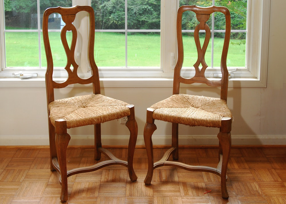 Delightful Continental Style Fruitwood Side Chairs