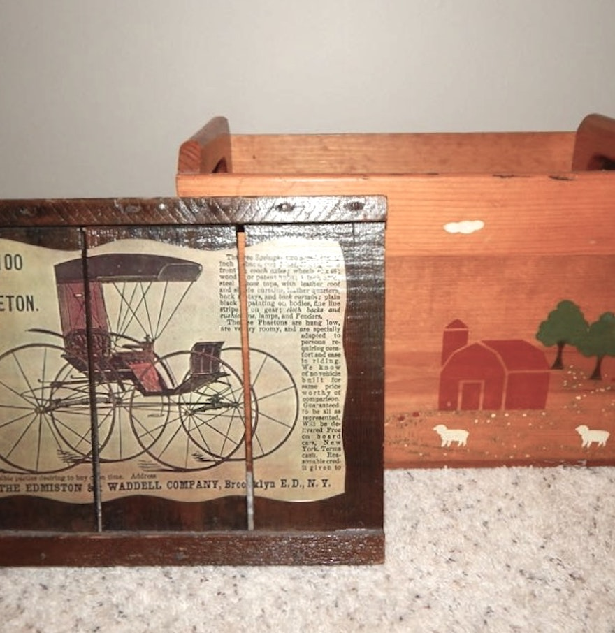 Wooden Box Wall Decor : Two handled wood box wall decor ebth