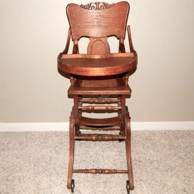 Antique High Chair/Rocker - Online Furniture Auctions Vintage Furniture Auction Antique