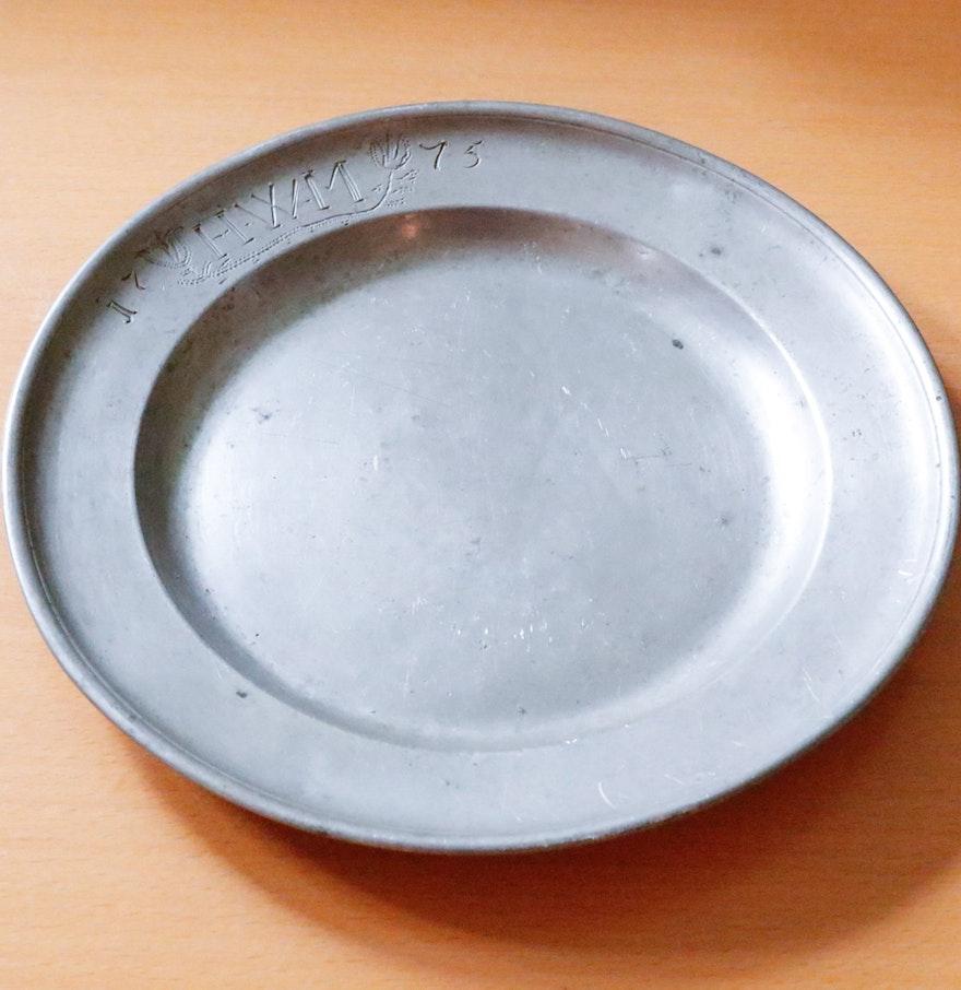 Antique Pewter Plates : Antique pewter plate ebth