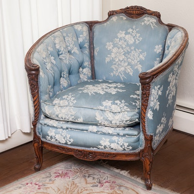 Rococo Revival Inspired Bergere Arm Chair - Online Furniture Auctions Vintage Furniture Auction Antique