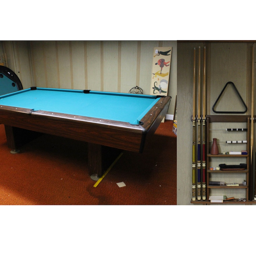Mid Century Modern Pool Table With Accessories EBTH - Mid century modern pool table