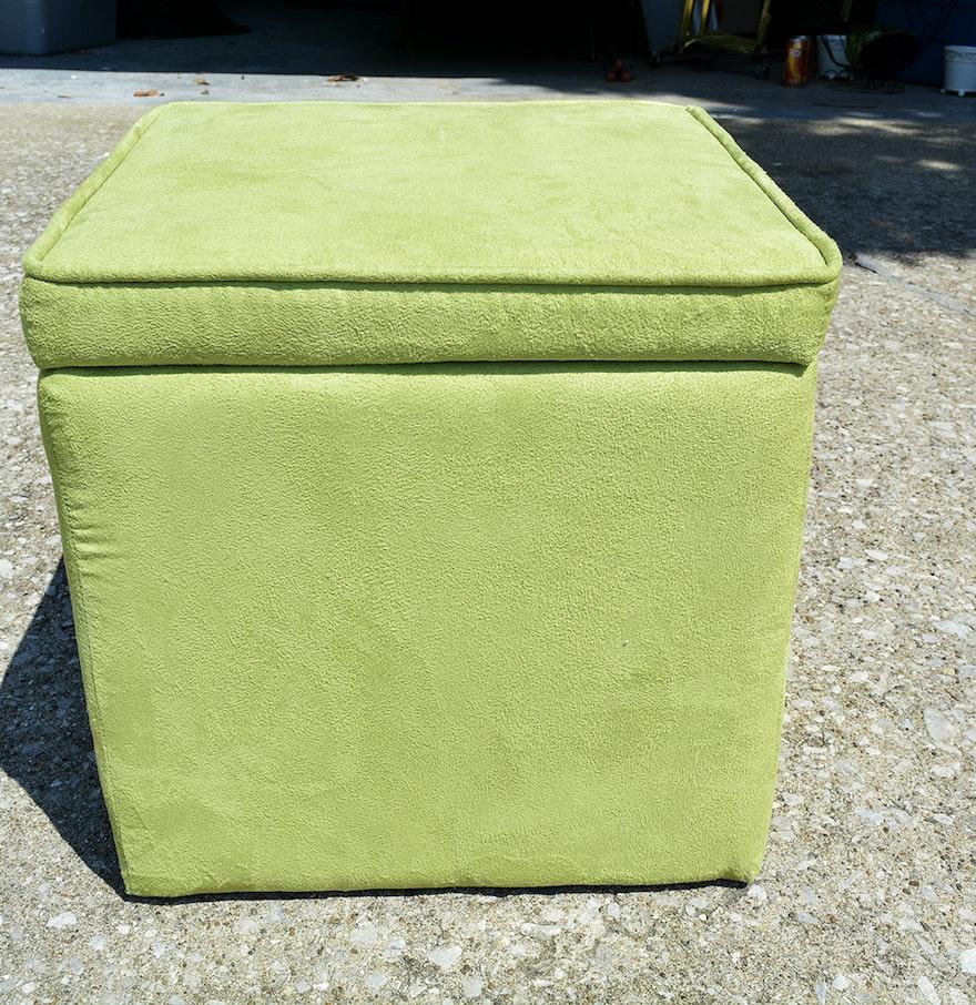 Green Faux Suede Storage Ottoman ... - Green Faux Suede Storage Ottoman : EBTH