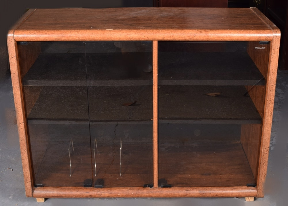 laminate stereo cabinet with glass doors : ebth