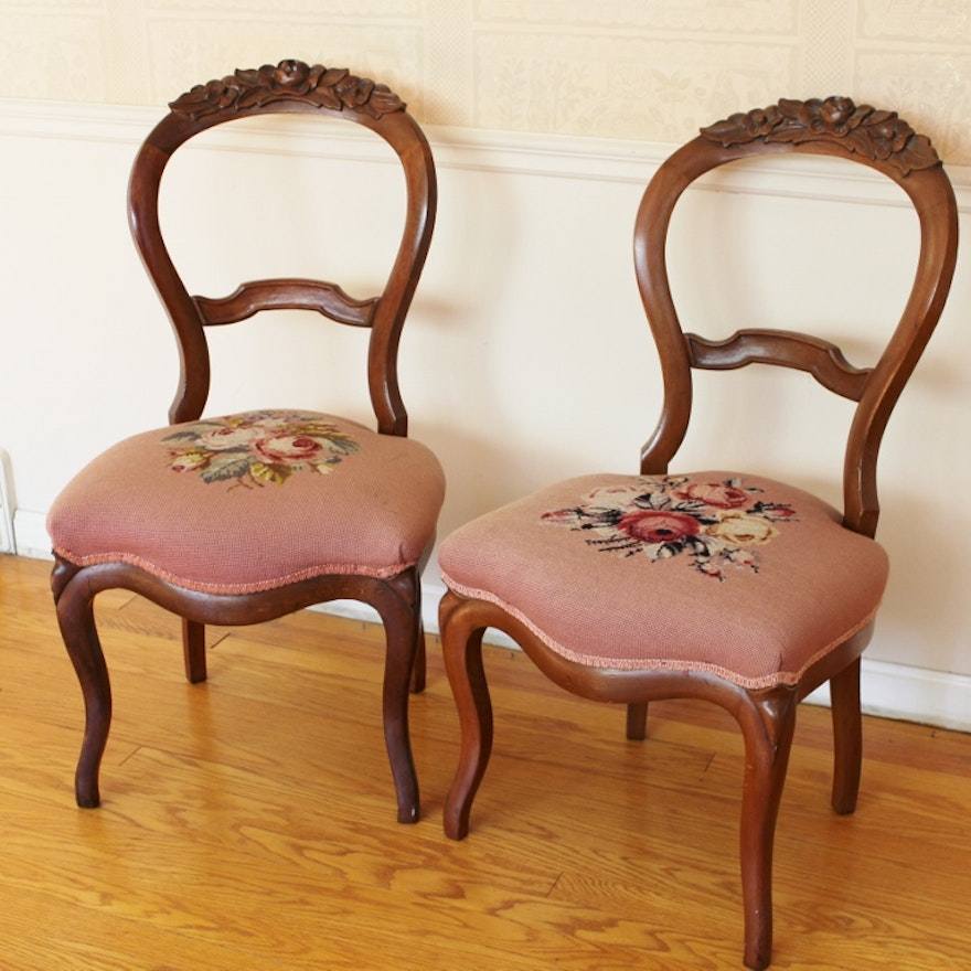 Two Victorian Balloon Back Chairs With Needlepoint Seats