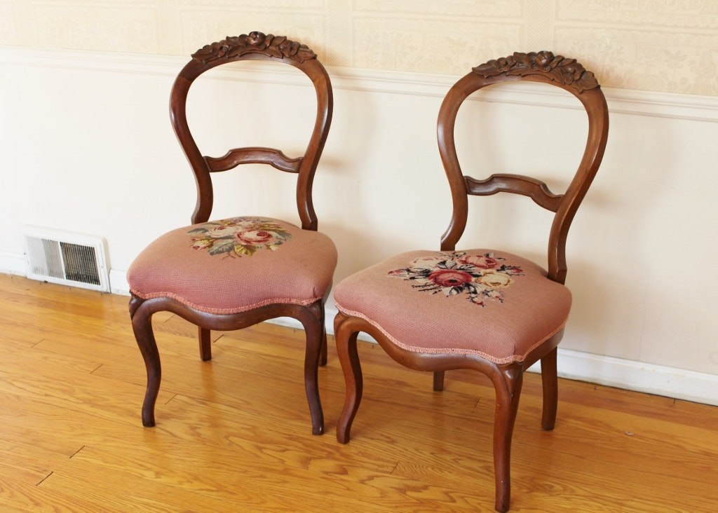 Beau Two Victorian Balloon Back Chairs With Needlepoint Seats ...