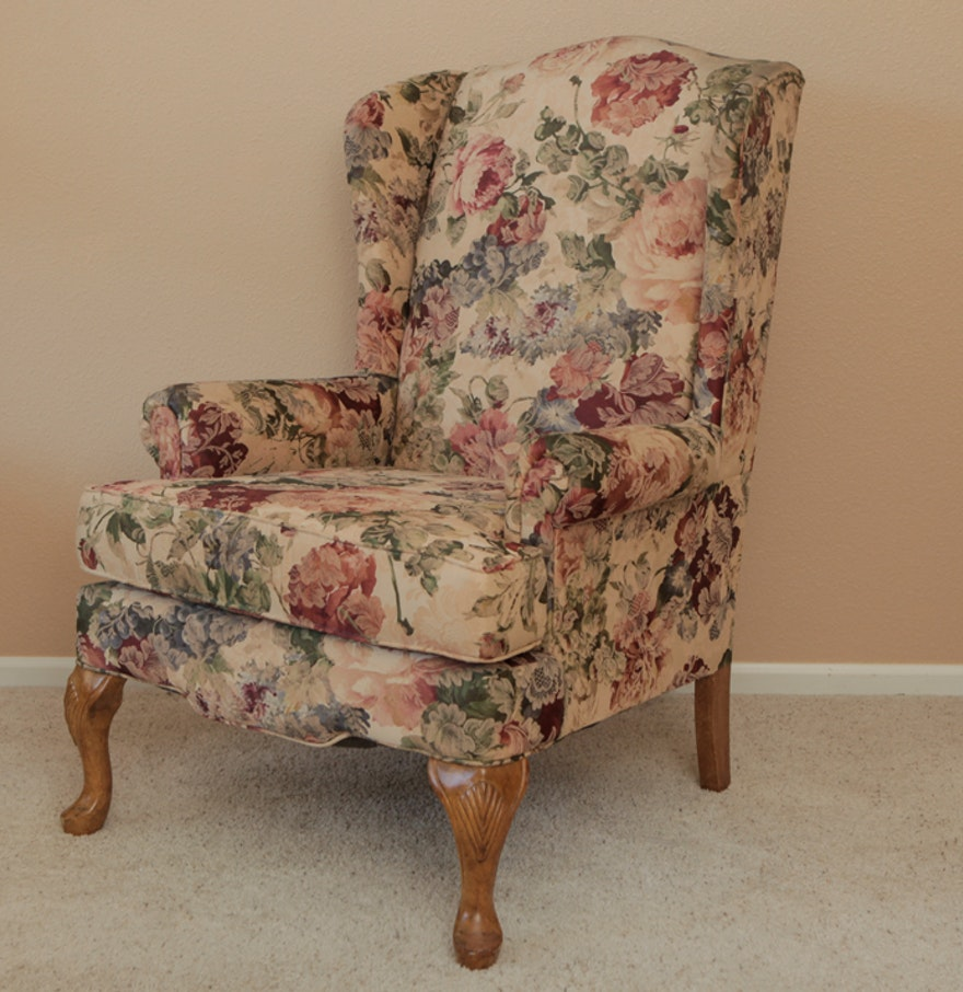 Floral Queen Anne Style Wingback Chair : EBTH