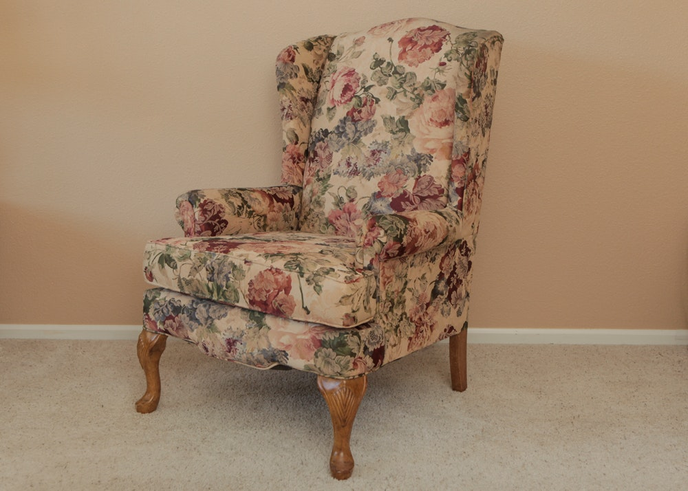 Floral Queen Anne Style Wingback Chair ...