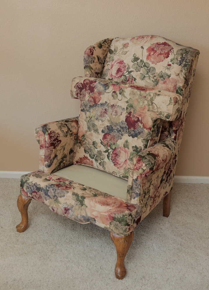 Floral Queen Anne Style Wingback Chair Ebth