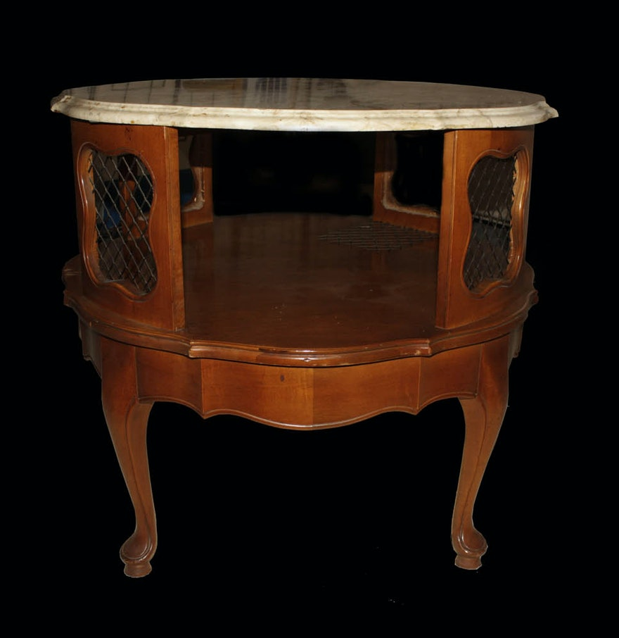 Vintage French Country Style Mahogany Accent Table Ebth
